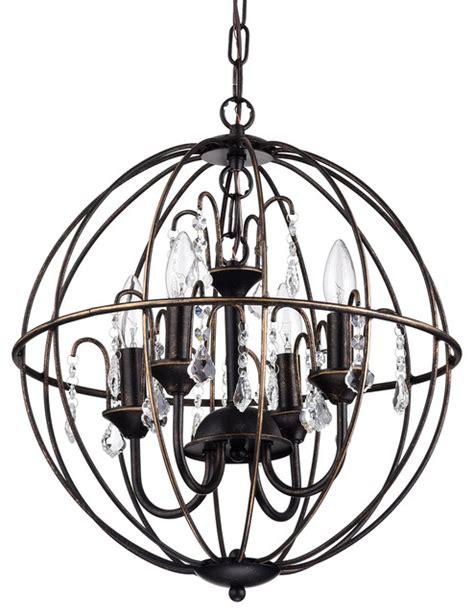 sphere chandelier antique bronze cage style globe sphere chandelier