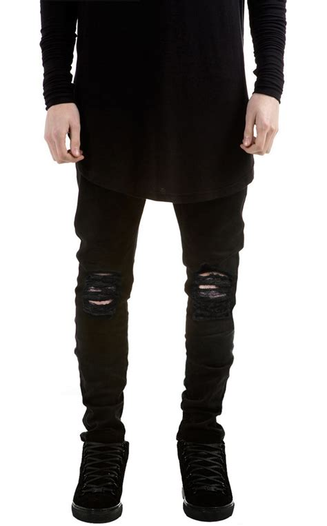 biker pants ripped black biker jeans men brand skinny destroyed denim