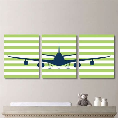 airplane aviation striped print trio home decor bath