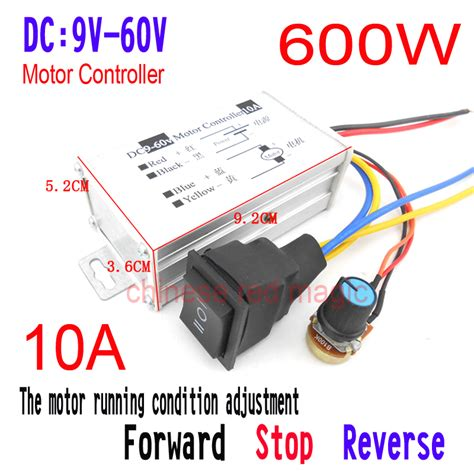 Dc9 60v 10a Pwm Dc Motor Speed Controller Cw Ccw Reversible Pu 10a dc motor controller 9v 12v 24v 36v 48v 60v pwm