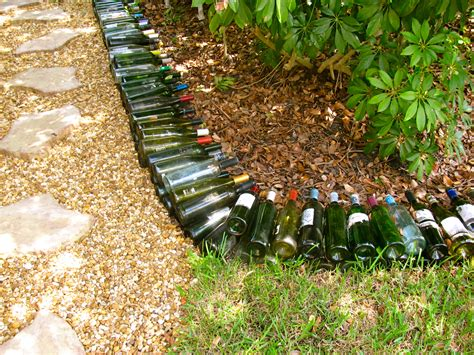 wine bottle garden may days wine bottle garden border