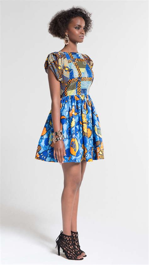 latest ankara style for 2014 afrocentric ankara print high waisted dress by vlisco