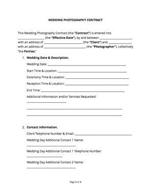 Wedding Photography Contract (Free Sample)   Docsketch