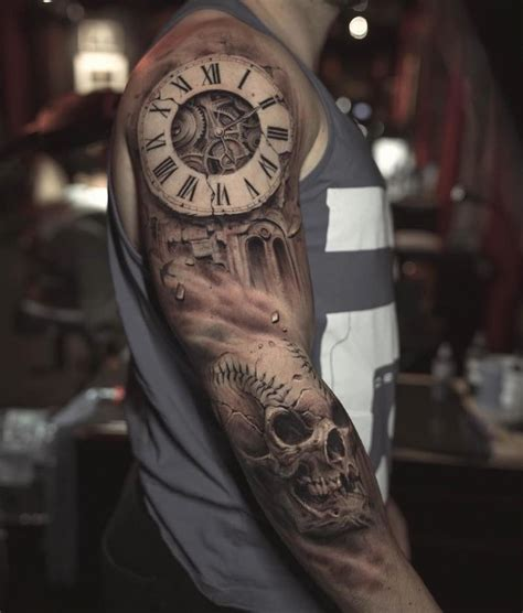 sleve tattoo designs clock insider
