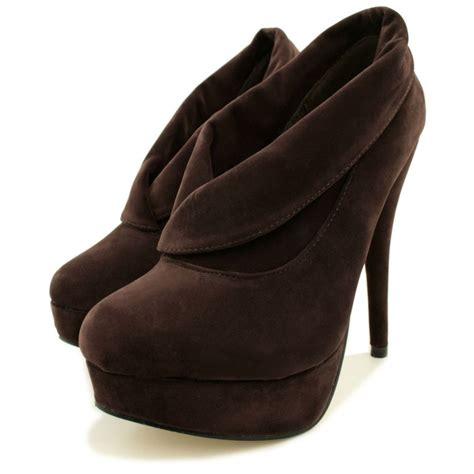 womens chocolate suede style stiletto heel platform ankle