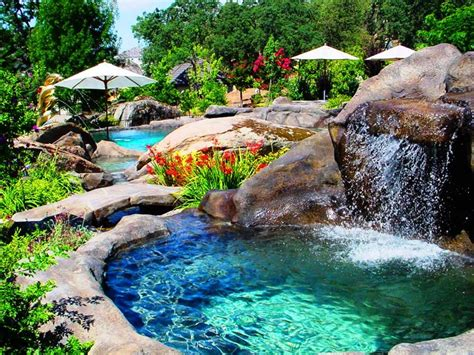 swimming pool designs with waterfalls design ideas for house pool hot water waterfall into natural rock swimming pool