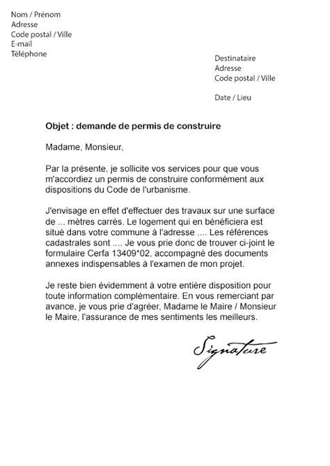 lettre de demande de permis de construire modele de lettre