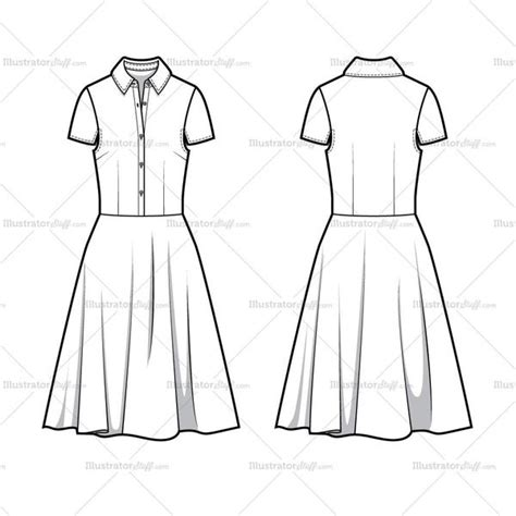 dress template for adobe illustrator full shirt dress flat template flat template illustrator