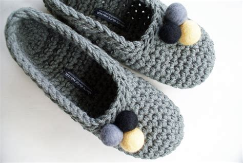 crochet house shoes crocheted slippers with felt embellishments for women in grey felt
