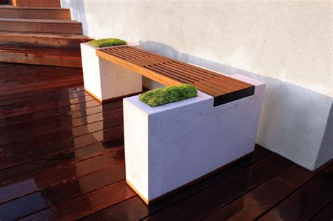 Concrete Patio Bench Concrete And Ipe Bench Modern Deck Los Angeles By