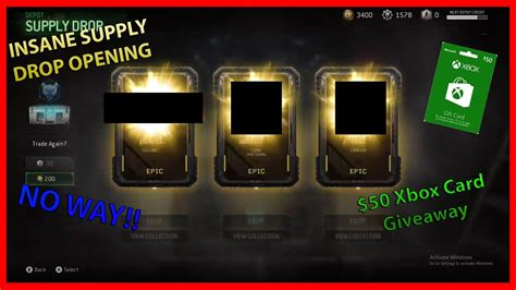 Xbox Gift Card Giveaway 2017 - 50 xbox gift card giveaway insane mwr supply drop opening youtube