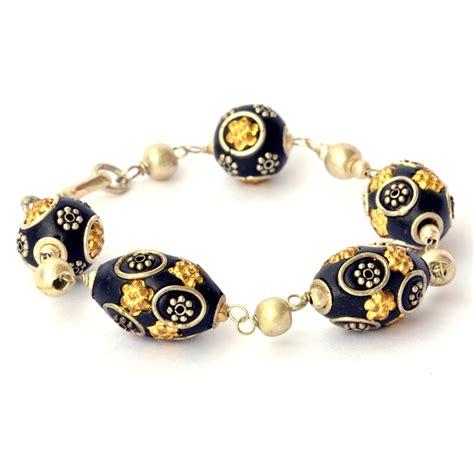 Handmade Metal Rings - handmade bracelet black with metal rings