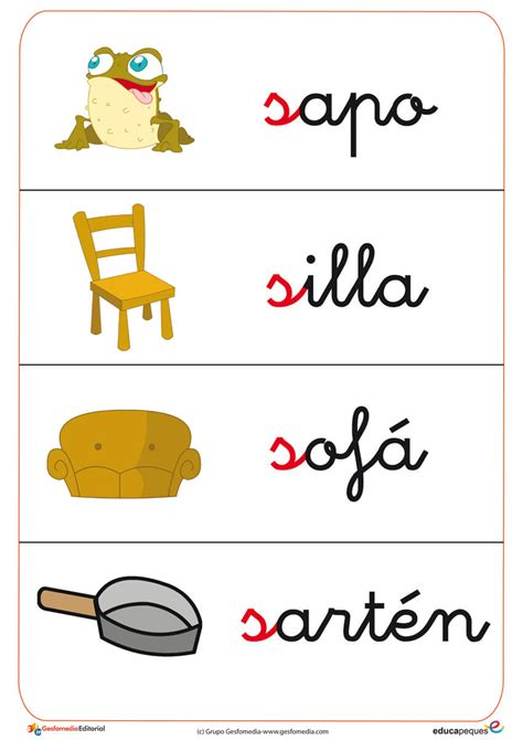 Imagenes Infantiles Con La Letra S | fichas de vocabulario y letras gratis educapeques