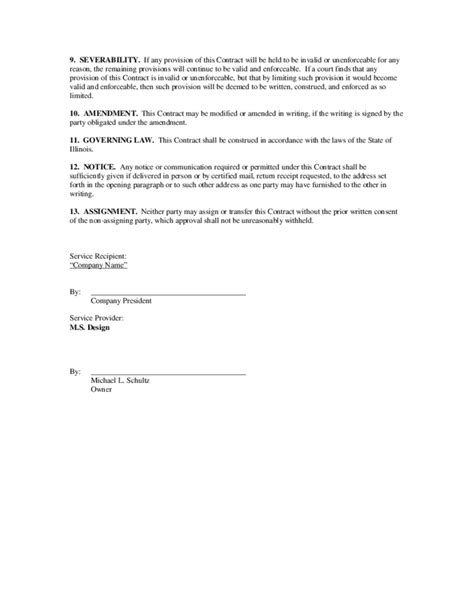 general service contract template general contract for services exle free