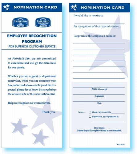 employee recognition card template fairfield inn employee recognition card employee