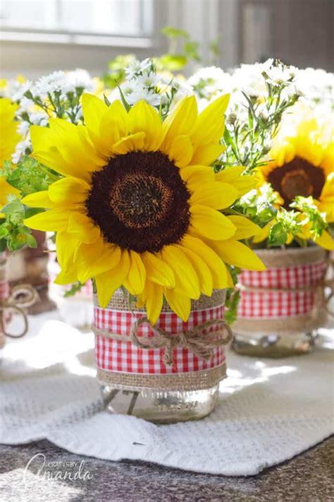 jar centerpieces sunflower filled jars decorated