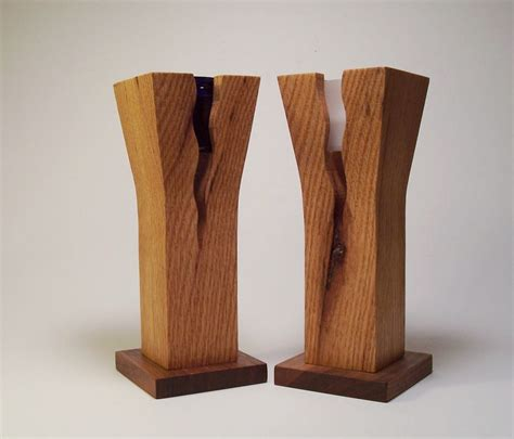 Wooden Flower Vase oak and walnut wooden flower vase and candle by