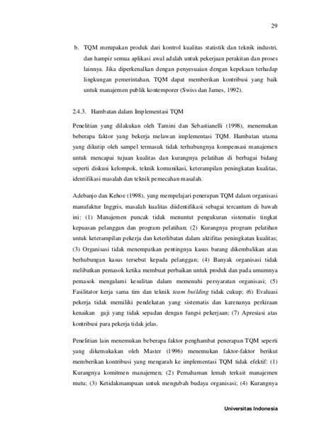 tesis manajemen akuntansi pemerintahan faktor faktor penghambat penerapan total quality