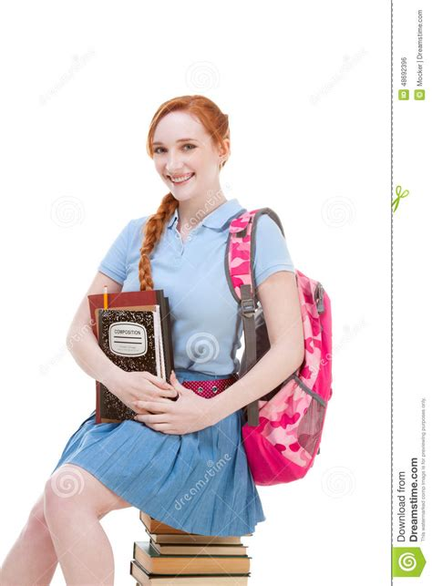 dreamstime high school girls high school schoolgirl student sitting on stack of books