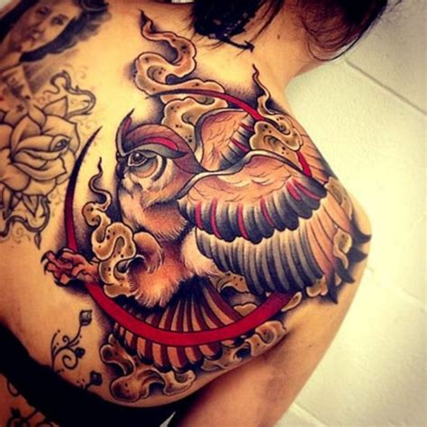 Owl Tattoo Red | mystical owl moon shoulder tatto red black white ink