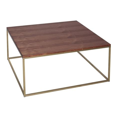 All Coffee Tables Buy Walnut And Gold Metal Square Coffee Table From Fusion Living