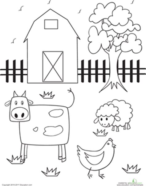 farm animals coloring pages preschool barn worksheet education com