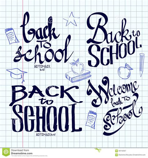 back to school lettering or back to school lettering and calligraphic on a stock