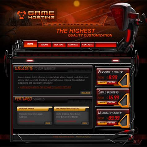 free game hosting template free templates online