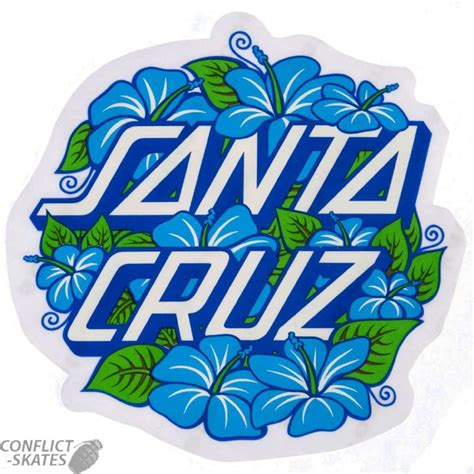 Sticker Plat California Santa santa hibiscus dot skateboard sticker 8cm skool blue small jim phillips