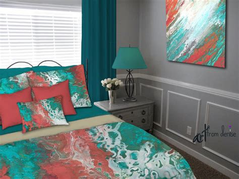 teal and coral bedroom teal coral gray aqua bedding set duvet cover queen king full