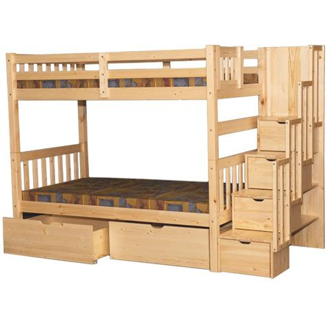 Wynn Stairway Twin Bunk Bed Natural Staircase Bunk Beds Bunk Bed Staircase