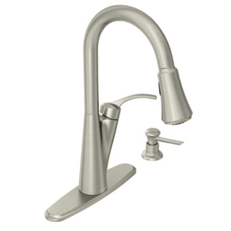 Moen Russo Single Handle Pulldown Kitchen Faucet moen russo spot resist stainless one handle high arc