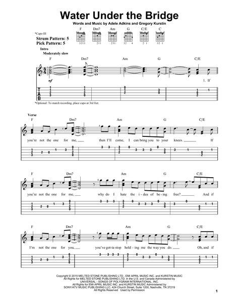 learn guitar under the bridge water under the bridge by adele easy guitar tab guitar