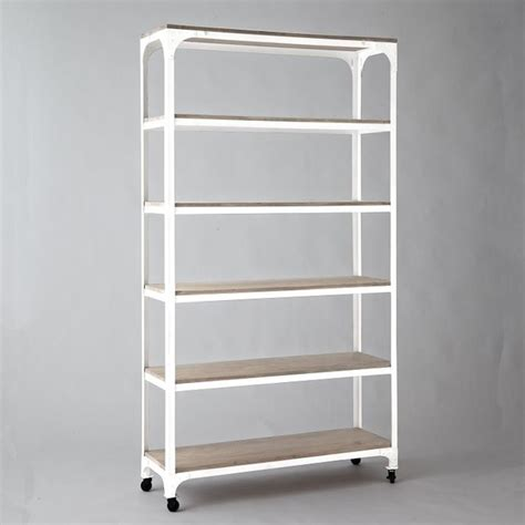whitewashed wood metal shelves industrial bookcases