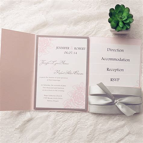 pink and silver wedding invitations affordable silver ribbon blush pink pocket flower wedding invitation ewpi146 as low as 1
