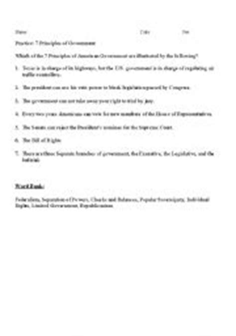 Principles Of The Constitution Worksheet by Teaching Worksheets Other Worksheets