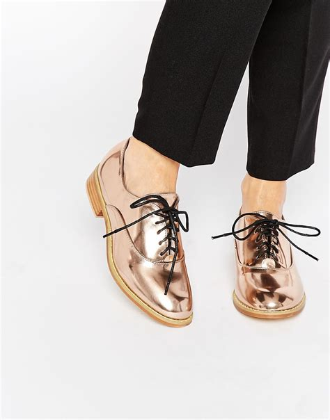lost ink gold lace up flat shoes in metallic lyst
