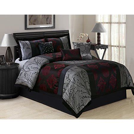 wrinkle free grey and white comforter set 7 shangrula big square patchwork jacquard clearance