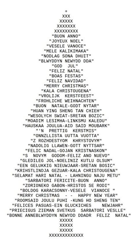 ascii art christmas tree drawn with typed characters