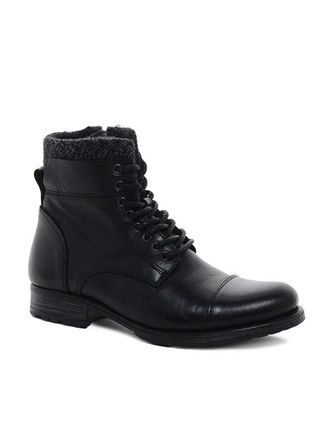 fred perry aldo timo leather boots in black for lyst