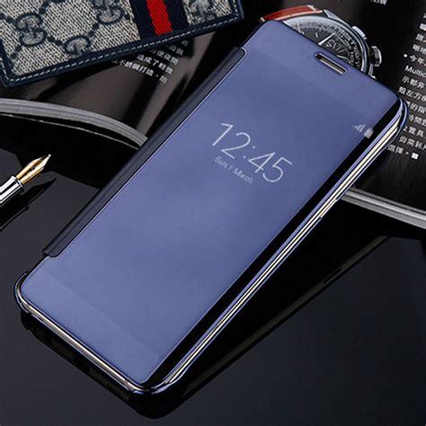Flip Mirror A3 2017 Blue smart flip for samsung galaxy a3 a5 a7 2017 a320f a520f a720f mirror clear view leather