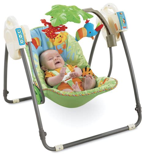 swinging baby bouncer fisher price rainforest open top take along baby swing