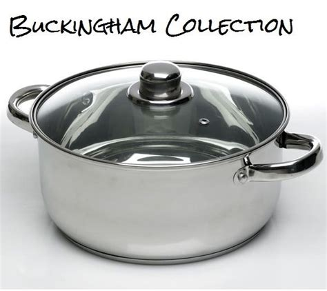 24cm 6l induction casserole dish vented glass lid stainless steel stock pot pan ebay