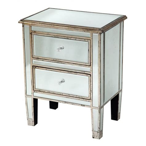 Silver Bedside Drawers by Antique Venetian Shabby Chic Mirrored Silver 2 Drawer
