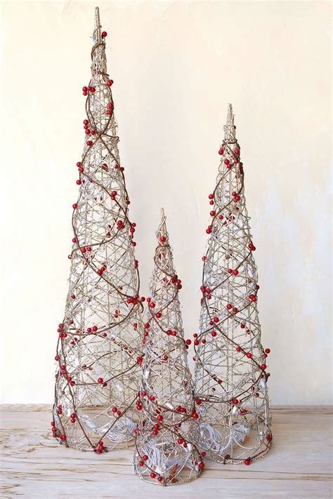 3 led lighted cone berry christmas trees