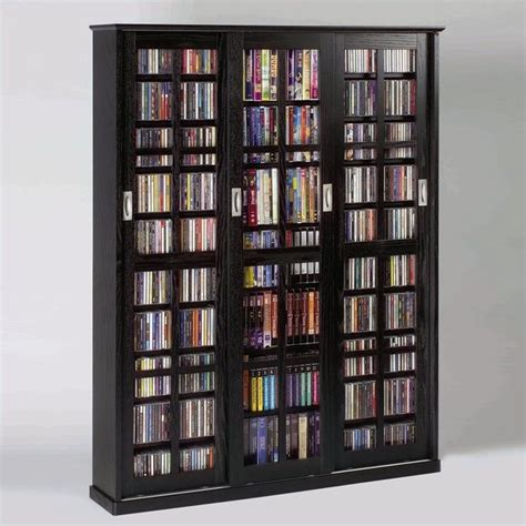 sliding door dvd storage cabinet 62 quot sliding door inlaid glass multimedia cabinet in black
