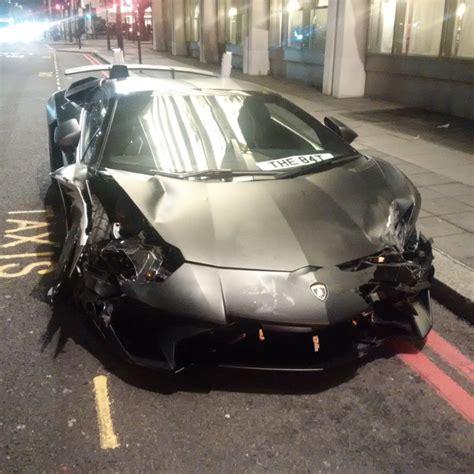 crashed white lamborghini crashes lamborghini aventador sv roadster in