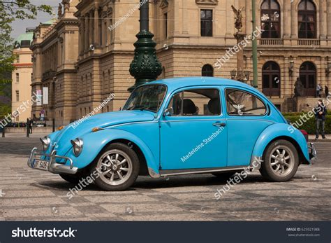 old blue volkswagen prague czech republic april 21 2017 stock photo 625921988