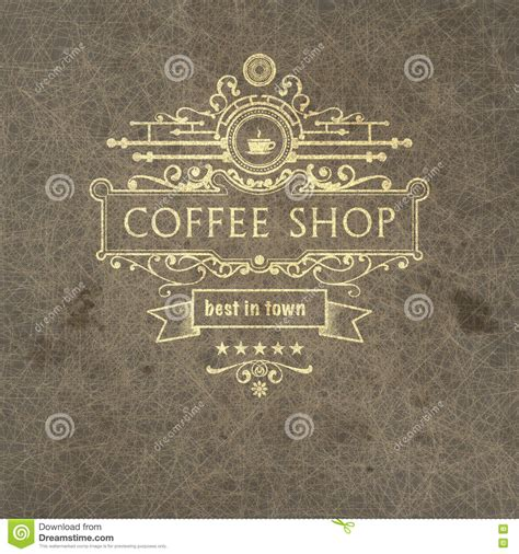 trendy coffee shop checked vector background http www welovesolo trendy coffee label on grange background stock vector