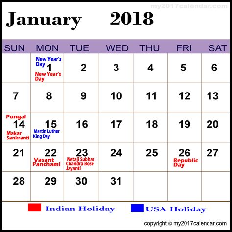 2018 Monthly Calendar With Holidays January 2018 Calendar With Holidays Printable Monthly